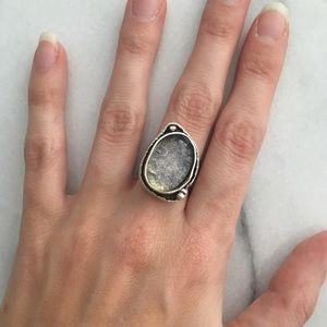 Jewelry - Silver adjustable gemstone ring EUC